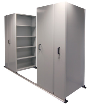 Track Mounted Mobile Storage Shelving