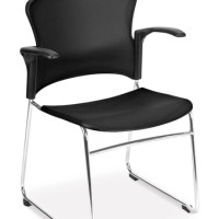 ZING CHAIR- CHROME SLED BASE, PLASTIC SEAT & BACK WITH ARMS BLACK