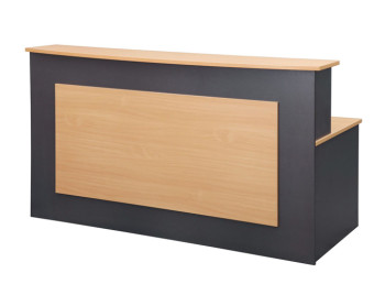 B Reception Desk with Curved Hutch top and Front Feature Panel