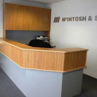 CUSTOM RECEPTION COUNTER IN AMERICAN OAK AND BRUSH 1